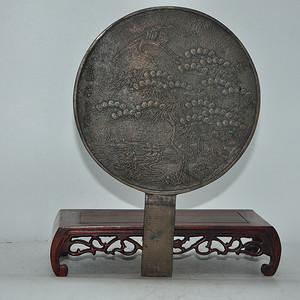 日本藤原吉长款铸花带柄铜镜