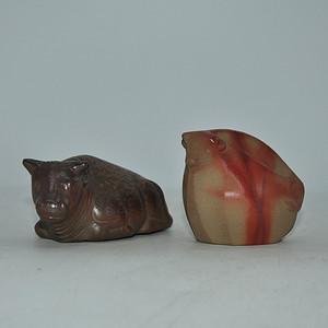 日本陶瓷小瓷塑两件