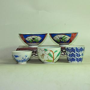 日本瓷茶碗五个