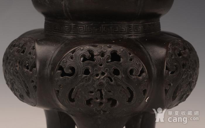 欧洲回流清代铜赤龙三足镂空香炉图3
