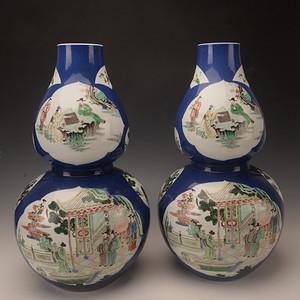 欧洲回流季蓝釉开窗五彩人物葫芦瓶