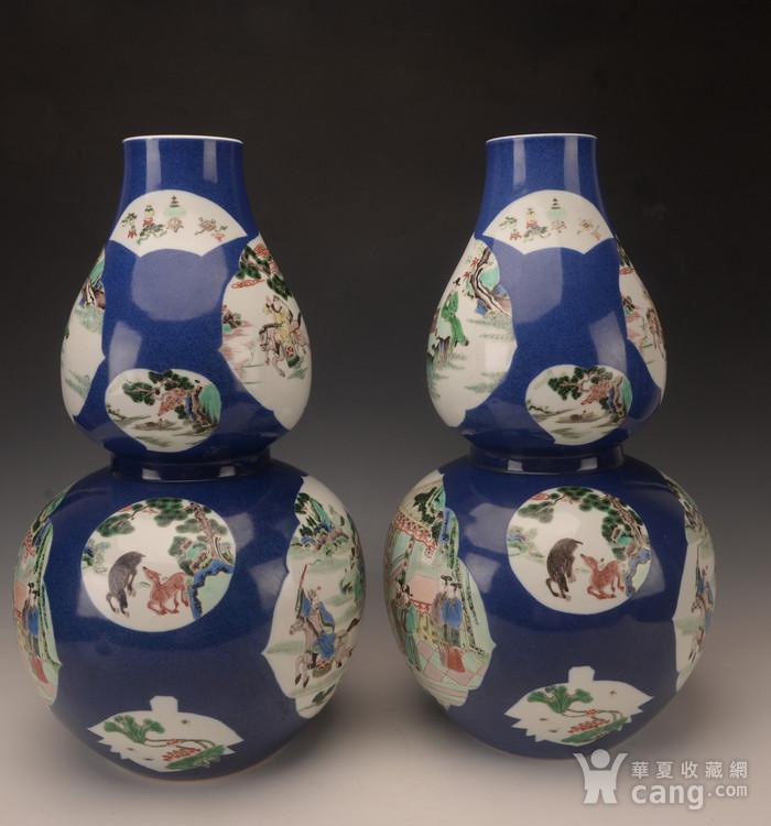 欧洲回流季蓝釉开窗五彩人物葫芦瓶图2