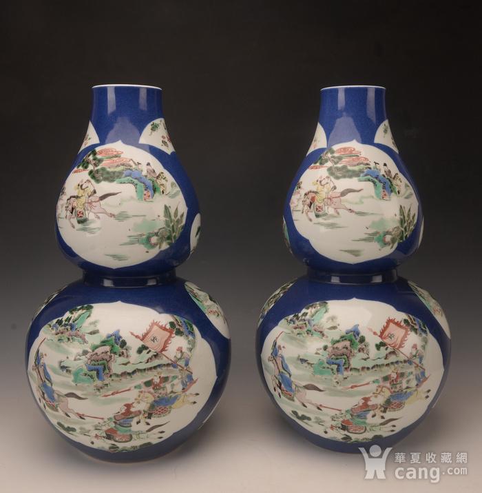 欧洲回流季蓝釉开窗五彩人物葫芦瓶图3
