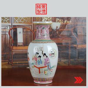 景德镇文革老厂货瓷 精品收藏 全手工彩绘仕女图西莲边脚赏瓶