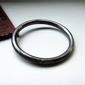 内径6.4圆条老银手镯