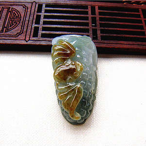 证   天然缅甸双彩翡翠多子多福挂件