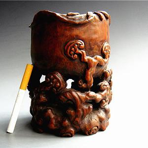天然竹根镂空高浮雕刻灵芝水盂文房摆件