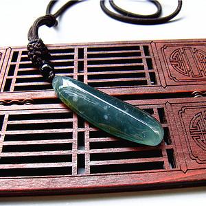 证  天然缅甸翡翠老坑蓝水双彩翡翠福豆挂件