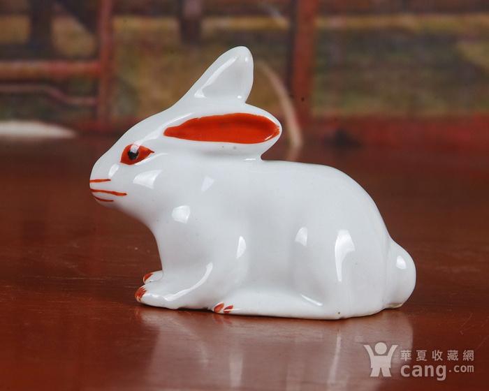 景德镇文革老厂瓷器 精品收藏 雕塑瓷厂精品雕塑  粉彩小兔子图2