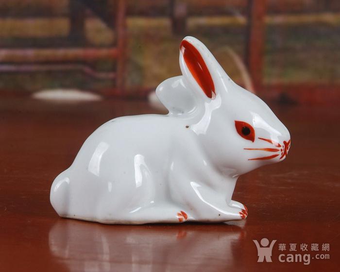 景德镇文革老厂瓷器 精品收藏 雕塑瓷厂精品雕塑  粉彩小兔子图4