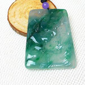 冰种起荧光缅甸老坑A货翡翠冰润飘绿山水牌子