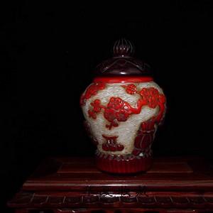 民国时期老琉璃套料雕刻福在眼前小罐子
