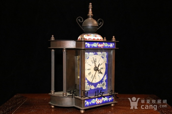 回流民国瑞士欧米茄纯铜手绘珐琅彩机械钟表图4