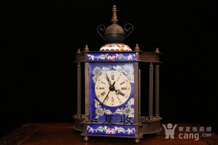 回流民国瑞士欧米茄纯铜手绘珐琅彩机械钟表图2