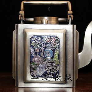 民国时期老白铜鎏银镶珐琅彩四面花纹锦泰永造款提梁壶