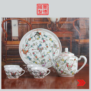景德镇文革期间老厂瓷器 创汇瓷 全手工彩绘蝶恋花图六头茶具一套