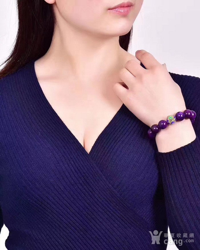 老料舒俱来圆珠手链搭配年年有余铐蓝,皇家紫!色泽油润,光泽度强!苏纪石图6