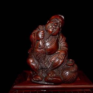 极品晚清时期竹雕渔翁得利摆件