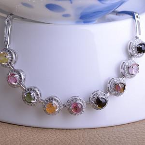 联盟 天然原矿精品宝石级巴西彩虹碧玺镶嵌手链