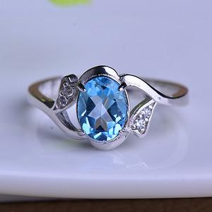 联盟 天然原矿精品刻面蓝托帕石戒指,圈口大小可以调节