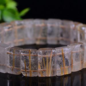 联盟 天然原矿精品佛教七宝之一钛晶水晶手牌