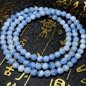夏日小清新!纯天然海蓝宝石圆珠多圈水晶手链!