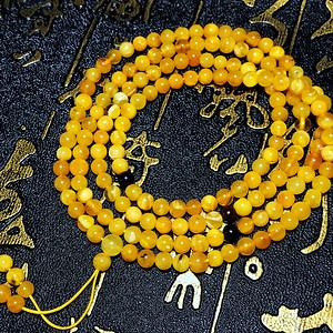 满蜜鸡油黄!波罗的海天然蜜蜡金绞白蜜白花蜡圆珠多圈手链!