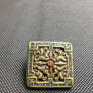 藏式精品手工镶嵌錾刻铜方形背云