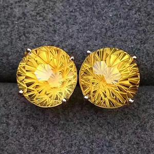 天然黄水晶耳钉