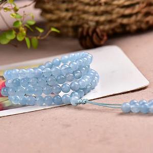 海蓝宝手链 海洋色 天空蓝 晶体晶体透 颜色浓郁 招财进宝 !对应喉轮