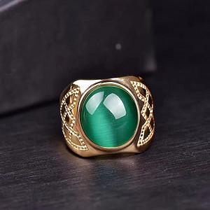 超美绿猫眼戒指 绿猫眼事业石 绝对的霸气十足   佩戴绿猫眼 事业肯定