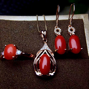 天然红珊瑚套装
