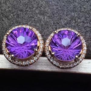 天然紫水晶耳钉