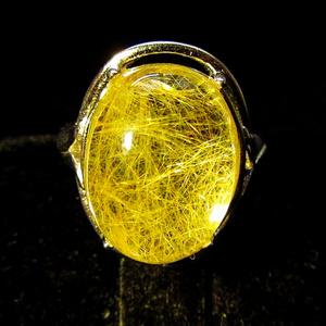 完美金发晶!纯天然无优化通透玻璃体金发晶饱满大蛋纯银戒指