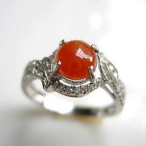 纯银镀18K白金镶46锆钻天然老坑冰种A货翡翠完美红翡戒指