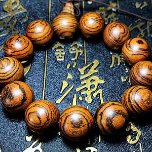 天然越南沉香木虎皮纹18MM大珠佛珠手串