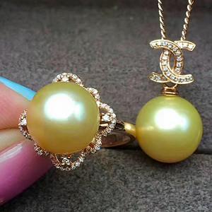 天然珍珠戒指吊坠套装