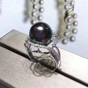 天然黑珍珠戒指