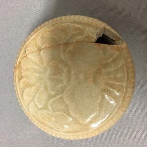 联盟 青白色印花粉盒 残件