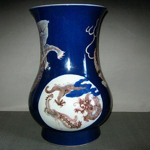 欧洲回流祭蓝开光釉里红尊瓶