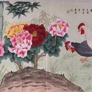 中央美院凌雪老师四尺整纸工笔画作品《富贵吉祥》