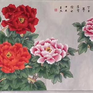 中央美院凌雪老师四尺整纸工笔画作品《富贵图》
