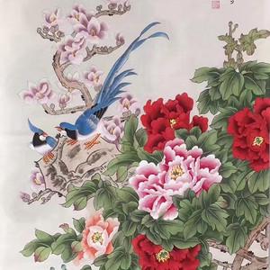 中央美院凌雪老师四尺整纸工笔画作品《富贵长寿》