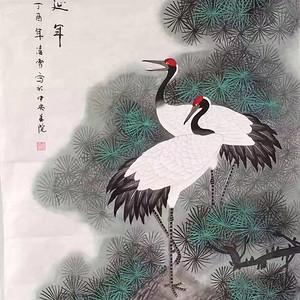 中央美院凌雪老师四尺整纸工笔画作品《松鹤延年》