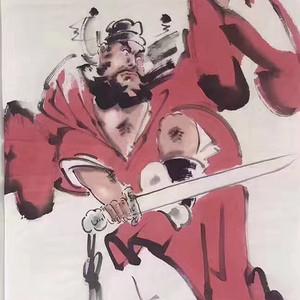 王铭三尺整张50x100《钟馗砺剑图》