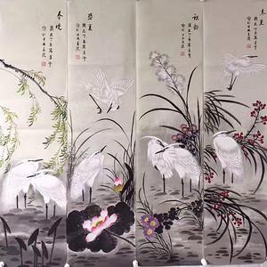 央美老师凌雪四条屏138x34x4