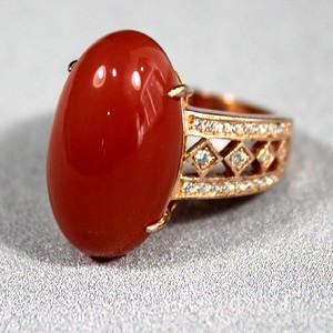 南红 纯银镀金大戒指
