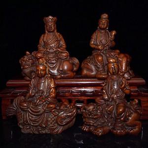 晚清时期黄杨木精雕四大菩萨坐像