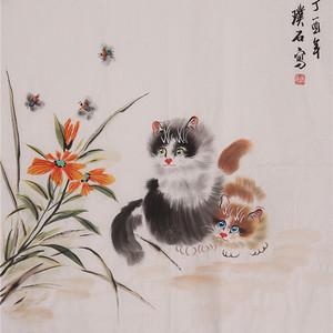 联盟 璞石款斗方动物画:猫 国画