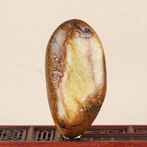 天然精品新疆和田籽料 金包玉 手把件 天师钟馗